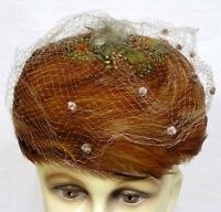 Vintage Ladies Hat Pheasant Feathers Chenille Dotted Netting 1950s