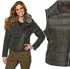 Ladies UK Plus Size 8 - 16 Olive Padded Jacket Coat / Gilet BodyWarmer Faux Fur