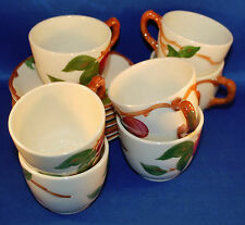 Seven Vintage Franciscan Apple Pattern Cups and Saucers Ca: Late 50s early 60s