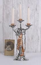 Lights Art Nouveau Checkers Candlestick Table Lamp Female Figure Candelabrum New