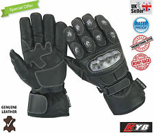 Motorbike Motorcycle Gloves Waterproof Thermal Carbon Knuckle Protection LEATHER