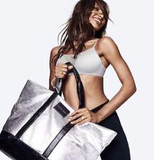 NWT Victoria's Secret Pink Logo Weekender Tote Bag Zipper Silver Black NEW $98