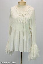 Renaissance Blouse Ladies Fancy White Peasant Style Gauze & Lace Period Blouse