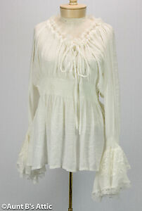 Renaissance Blouse Ladies Fancy White Peasant Style Gauze & Lace Period Blouse