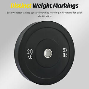 """Olympic Weight Plate 2"""" 20kg Bumper Plate for Weightlifting Strength Training"""