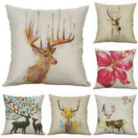 "Deer Pillow Case Home Decor Cotton Linen 18"" Throw  Flower Cushion Cover  Sofa"