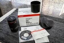 Canon EF 100mm f/2.8L MACRO IS USM AF Camera Lens - Original Box Bag Case Hood