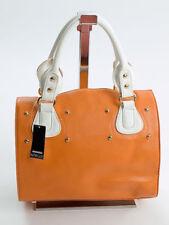 Fashion Cube Bowling Bag Trage Damen Henkel Tasche Satchel Orange Weiß  585OW