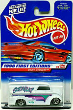 Hot Wheels 1998 First Editions Got Milk DAIRY DELIVERY (White) Card #645