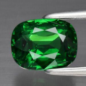 GRA CERTIFICATE Incl.*1.08ct Cushion Natural Vivid Green Tsavorite Garnet