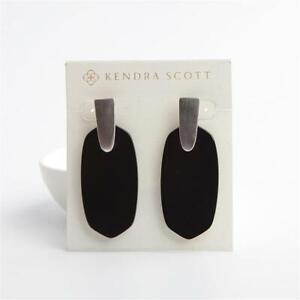 Kendra Scott Aragon Silver Statement Earrings in Black Opaque Glass