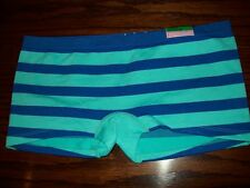 NWT JENNI NYLON POLY SPANDEX BOYSHORT PANTIES blue / aqua STRIPE MONET
