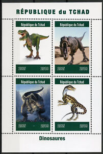 Chad 2019 MNH Dinosaurs T-Rex 4v M/S Dinosaures Prehistoric Animals Stamps