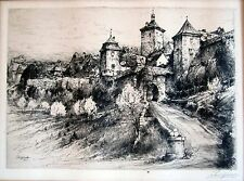 """""""Old Rothenburg"""" etching by Paul Geissler"""