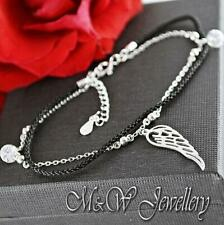 925 Silver Rhodium Plated Chain Bracelet with Black Cord - WING and Zirconia