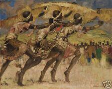 I levrieri del musinga Fernand Allard l'olivier 5x4 pollici STAMPA AFRICANA DANCE