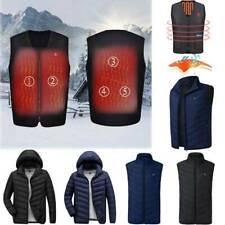 USB Heating Warm Padded Hooded Jacket Coat Vest Winter Heated Bodywarmer Outwear
