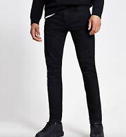RIVER ISLAND mens jet black wash skinny stretch jeans size W 34 Leg 32 meas 30