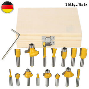 15 Tlg 8mm Fräser Set HM Schaft Nutfräser Profilfräser Für Oberfräse Holzfräser