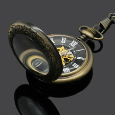 Magnifier Glass Bronze Mens Manual Winding Mechanical Skeleton Pocket Watch