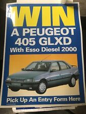 Peugeot 405, Full Size Poster Esso 2000 Promo Kit. Forecourt Advertising