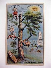 1880s Victorian Trade card for Domestic Sewing Machine w/ Brownies in Tree