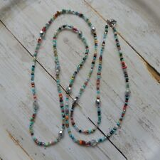 262763c4ac6d Handmade silver colored Czech glass beads with seed beads long necklace