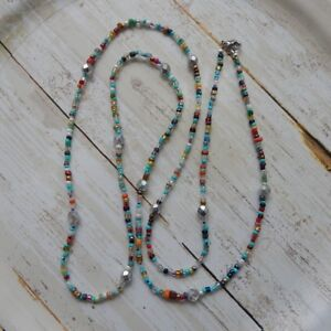 """Handmade silver colored Czech glass beads with seed beads long necklace, 36"""""""