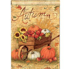 Autumn Pumpkin Cart Garden Flags Fall Sunflower Leaves Mini Banner Decor 12X18''