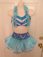 Turquoise Blue Pink White Sequin RUffle XL Child XLC Dance Costume