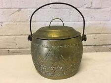 Vintage Asian Brass Metal Cooking Vessel / Pot w/ Handle & Incised Decoration