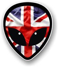 Funny Alien Head Motif & Union Jack Drapeau Britannique Vinyle Autocollant Voiture Décalque 95x80mm