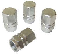 4 x Quality Silver Hexagonal Metal Tyre Valve Dust Caps for Cars Bikes Vans