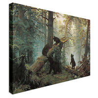 Bears In The Forest Canvas Wall Art Picture Print