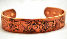 MENS 6.5 IN 100% COPPER MOHAWK TRAIL MAGNETIC THERAPY BANGLE / CUFF: 4 Pain!