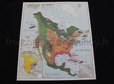 C310 Carte scolaire vintage Amérique Nord Asie economique population MDI 91*79cm