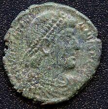 Ancient Roman Coin Emperor Head with Beaded Crown / Angel Figure 18 mm Diameter