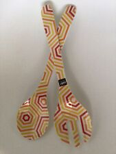 Zak! designs. Large Salad Fork & Spoon. White, Orange, Yellow Pattern. Acrylic.