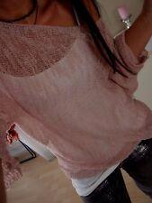 Stricke Pulli M L Neu Blogger Sommer TREND Pullover Italy Transparent Rose Shirt