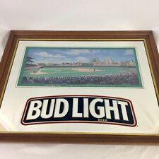 Chicago Cubs Bud Light Sunlit Wrigley Field MLB Mirror Beer Sign Baseball 1993