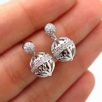 925 Sterling Silver C Z Ornate Ball Design Dangling Earrings