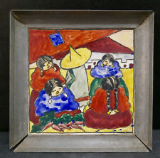 Framed Vintage Tile Mexican Scene