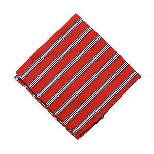 RODA for Jacques Britt Red-Black-White Stripe Silk Pocket Square NWT