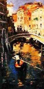 The Lone Gondolier by Elena Bond (Fine Art on Canvas, Venice Italy)