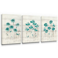Teal Flower Canvas Wall Art for Living Room Bedroom Farmhouse Decor 12x16 3pcs