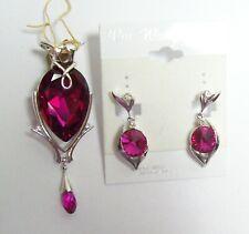 WM WANG DESIGNS Swarovski RASPBERRY Crystal Drop Pendant & Earrings  Orig $85