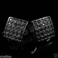 18k Black Gold ICED OUT Onyx Micropave Square Kite Stud HipHop AAA CZ Earring 2B