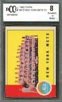 New York Mets Tc Team Card 1963 Topps #473  W/ Duke Snider BGS BCCG 8