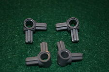 "(4) Dark Gray ""L"" 90 Connector w/ ""+"" Ends and ""O"" Brick ~ Technic ~ Lego ~ NEW"
