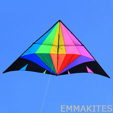 9ft Rainbow Diamond Single Line Delta Kite Easy to Fly Kids Beginners Outdoors